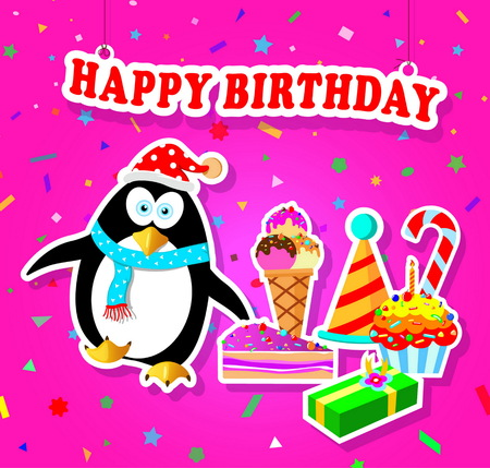 Happy Birthday Card With Penguin On Colourful Background Royalty