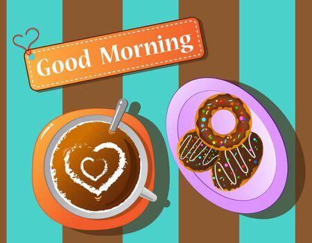 coffee break: morning relax coffee break and donut