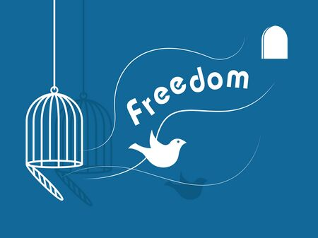 imprison: inspirational freedom with dove icon Illustration
