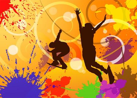 hombre jugando patineta, deporte extremo en colores de fondo