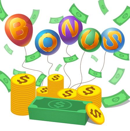 bonus with money,coin and alphabet on balloon Illustration