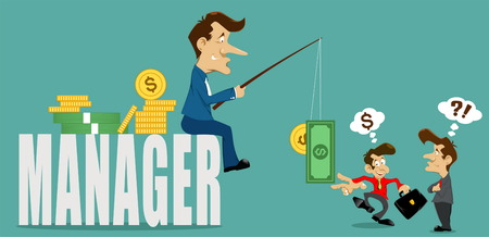 swindler: businessman manager with deceive,money and coins