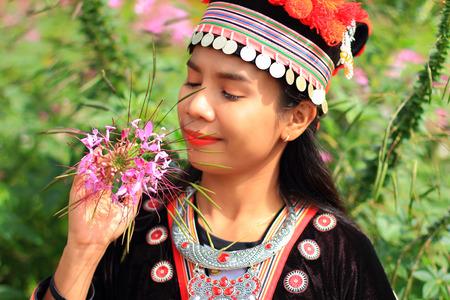 women wear hill tribe costume with lavender garden