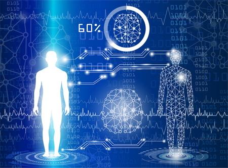Tecnología con ciencia en el futuro y clonación Ilustración de vector