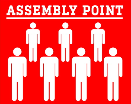 assembly point symbolboard with group icon people isolated on red background Illustration