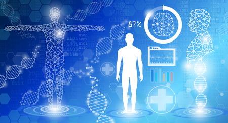 concepto de tecnología de fondo abstracto en luz azul, curación humana, tecnología ciencia médica moderna en el futuro y mundial médico internacional con análisis de pruebas clon ADN humano