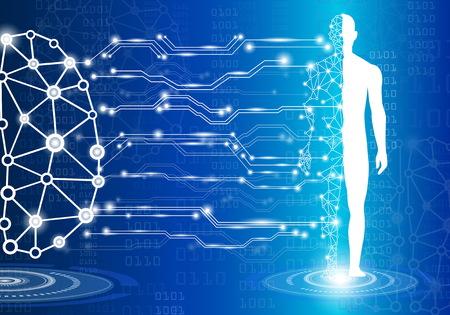 concepto de tecnología de fondo abstracto en luz azul, cerebro y cuerpo humano sanar, tecnología ciencia médica moderna en el futuro y mundial médico internacional con análisis de pruebas clon ADN humano Ilustración de vector
