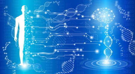 青の光で抽象的な背景技術概念、脳と人間の体を癒す、技術の現代医学を将来的に、テスト分析のクローン DNA 人間と世界的な国際医療  イラスト・ベクター素材