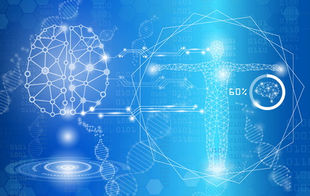 Abstract background technology concept in blue light, human body heal, technology modern medical science in future and global international medical with tests analysis clone DNA human.