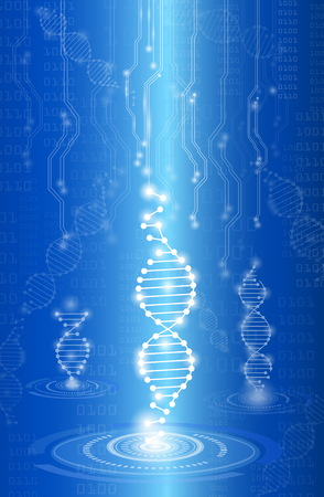 DNA abstract background, medical technology concept in blue light