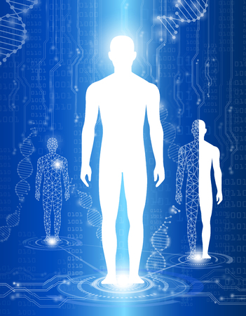 Abstract background technology concept in blue light, human body heal, technology modern medical science in future and global international medical with tests analysis clone DNA human