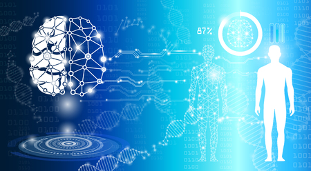 abstract background science and technology concept in blue light,human body heal,technology modern medical science in future and global international medical with tests analysis clone DNA human