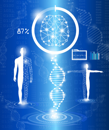 Abstract background, technology concept in blue light, heal human body, modern medical science in future and global international medical with tests analysis clone DNA human
