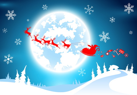 illustration backdrop,text with santa claus ,candy and gift  for decorative merry christmas and celebration countdown to new year festival holiday in december every year