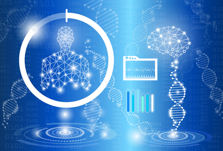 abstract background technology concept in blue light,human body heal,technology modern medical science in future and global international medical with tests analysis clone DNA human 向量圖像