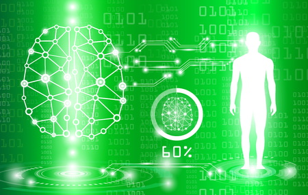 abstract background technology concept in green light,brain and human body heal ,technology modern medical science in future and global international medical with tests analysis clone DNA human
