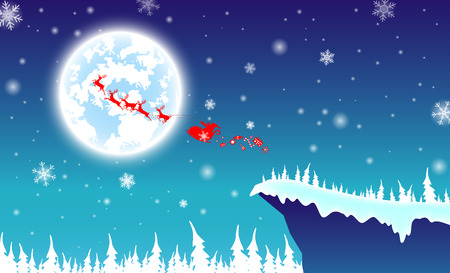 illustration backdrop,text silhouette Santa Claus with reindeer.