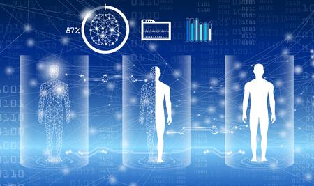 concepto de tecnología de fondo abstracto en luz azul, curación del cuerpo humano, tecnología ciencia médica moderna en el futuro y mundial médico internacional con análisis de pruebas clon ADN humano Ilustración de vector