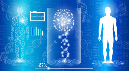Abstract technology concept in blue light vector illustration