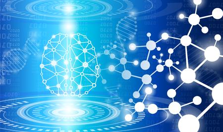 concepto de tecnología de fondo abstracto en luz azul, cerebro y cuerpo humano sanar, tecnología ciencia médica moderna en el futuro y mundial médico internacional con análisis de pruebas clon ADN humano