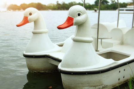 morning on holiday with relaxing for family,white swan paddle boat for rent in lake,white duck paddle boat in pond at the park Stock Photo