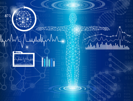 Abstract background technology concept in blue light,brain and human body heal ,technology modern medical science in future and global international medical with tests analysis clone DNA human 版權商用圖片 - 95085766