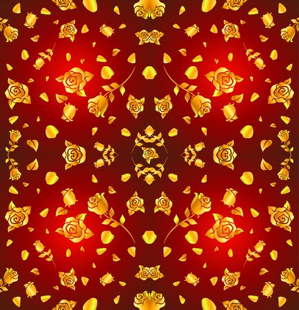 Pattern of gold rose and petal float on red background