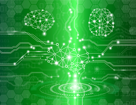 Abstract background technology concept in green light