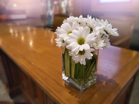 Close Up Daisy Bouquet In Vase On Table For Decorative Room And