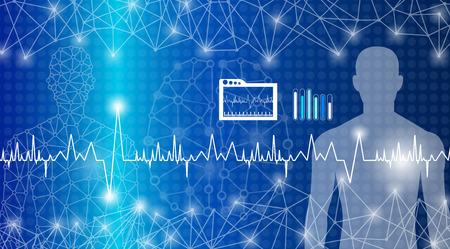 concepto de tecnología de fondo abstracto en luz azul, curación del cerebro y del cuerpo humano, tecnología ciencia médica moderna en el futuro y medicina internacional global con análisis de pruebas clon ADN humano Ilustración de vector