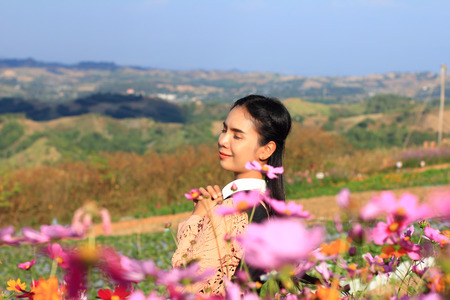 caucasian woman and expression happiness,pretty girl with pink cosmos flowers,woman wearing dress relaxing and happy with smelling flower in garden,female in park with on holiday,Cosmos bipinnatus is scientific name
