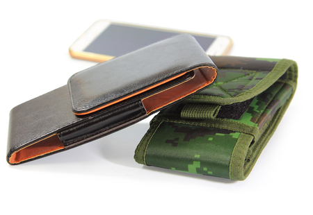 clipping paths,close up group smartphone,casing green fabric camouflage pattern and black leather for protection smartphone isolated on white background