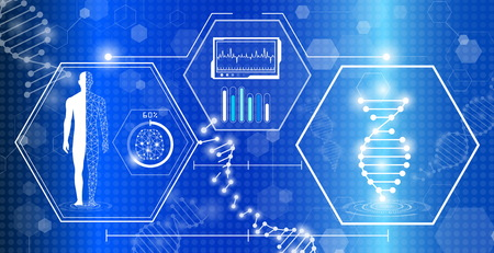 abstract background technology concept in blue light, brain and human body heal , technology modern medical science in future and global international medical with tests analysis clone DNA human