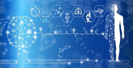 Concepto de tecnología de fondo abstracto en luz azul, curación del cerebro y el cuerpo humano, tecnología ciencia médica moderna en el futuro y mundial médico internacional con análisis de pruebas clon ADN humano Ilustración de vector