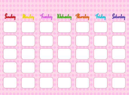 pattern pink calendar with day weekly,colorful template to take note and remind with beautiful design,text date and week 일러스트