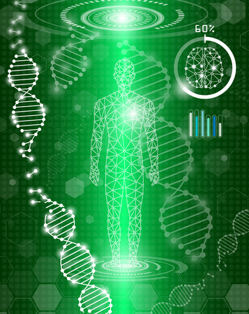 Abstract background technology concept in green light, human body heal, technology modern medical science in future and global international medical with tests analysis clone DNA human.