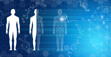 Abstract background technology concept in blue light, brain and human body heal. Technology modern medical science in future and global international medical with tests analysis clone DNA human. Illustration