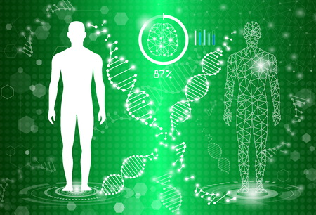 abstract background technology concept in green light,human body heal, tests analysis clone defective DNA  human,global international medical and technology modern medical science in future Illustration