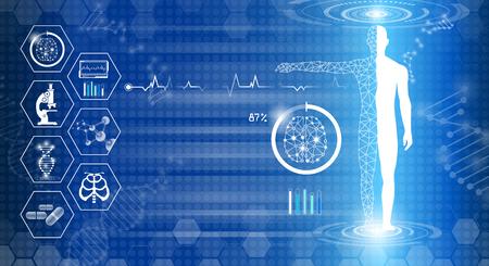 Il concetto di tecnologia di sfondo astratto nella luce blu, il cervello e il corpo umano guariscono, la scienza medica moderna della tecnologia in futuro e la medicina internazionale globale con test di analisi del DNA del clone umano
