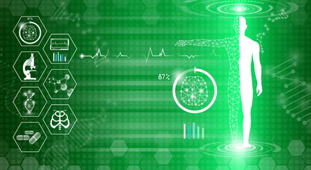 Abstract background technology concept in green light, human body heal. Technology modern medical science in future and global international medical with tests analysis clone DNA human. 向量圖像