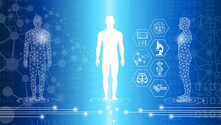 concepto de tecnología de fondo abstracto en luz azul, curación del cerebro y el cuerpo humano, tecnología de la ciencia médica moderna en el futuro y médica internacional global con análisis de pruebas clon ADN humano Ilustración de vector