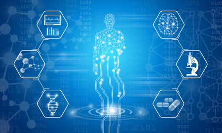 abstract background technology concept in blue light,human body heal,technology modern medical science in future and global international medical with tests analysis clone DNA human Illustration