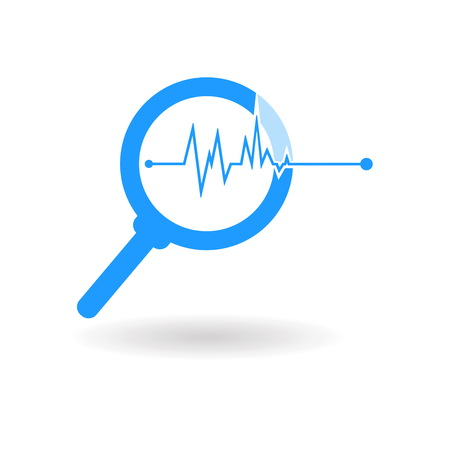 illustration silhouette,magnifying glass blue icon isolated on white background,magnifying glass is important equipment for scientists and doctor used for research and experimentation