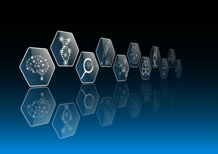 abstract background technology concept and icon in blue light,brain and human body heal,technology modern medical science in future and global international medical with tests analysis clone DNA human 向量圖像