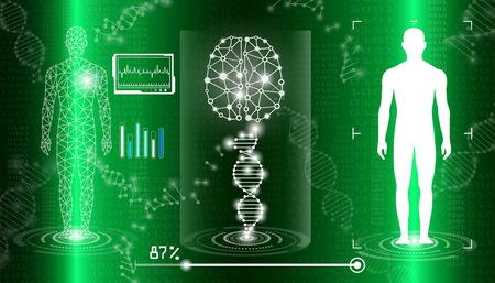 concepto de tecnología de fondo abstracto en luz verde, curación del cuerpo humano, tecnología ciencia médica moderna en el futuro y medicina internacional global con análisis de pruebas clon ADN humano
