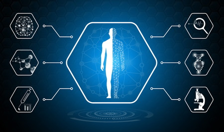 abstract background technology concept in blue light,brain and human body heal ,technology modern medical science in future and global international medical with tests analysis clone DNA human
