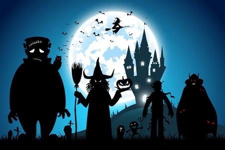 Ilustración de fondo azul, concepto de festival de halloween, luna llena en la noche oscura con muchos fantasmas, espantapájaros, frankenstein y diablo caminando al castillo para la celebración del día de halloween Ilustración de vector