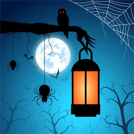 illustration blue background and festival halloween concept,full moon on dark night, zombie hand with owl and spider, many ghost and devil with celebration halloween day Stock Illustratie