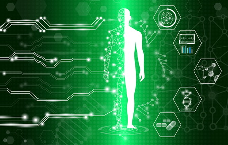abstract background technology concept in green light,human body heal,technology modern medical science in future and global international medical with tests analysis clone DNA human Vetores