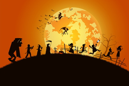 illustration sunset background concept,many people with men and women wearing as ghost and devil for festival halloween,full moon on dark night with happy children for celebration halloween day